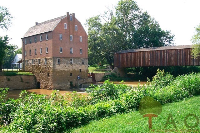 Mill building and covered bridge 1