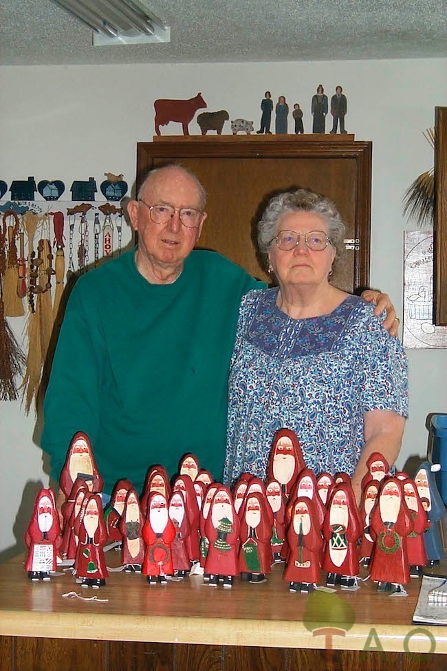wooden folk art santas