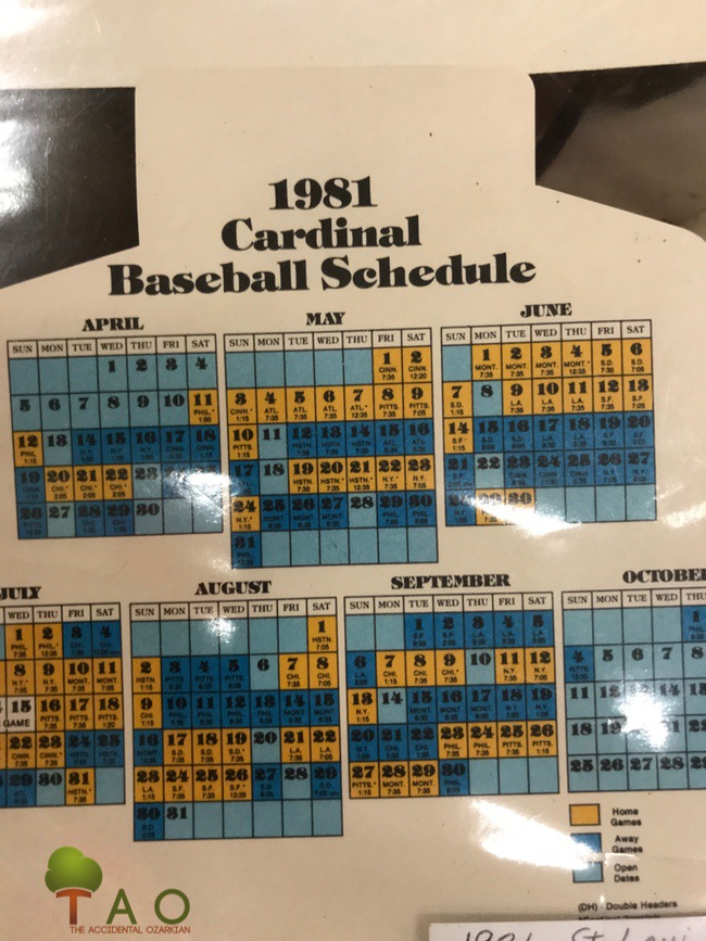 Cardinals baseball schedule 1981