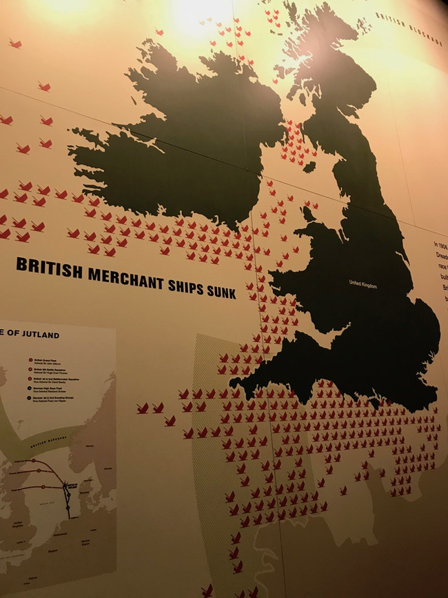 map of British Merchant ships sunk in WWI