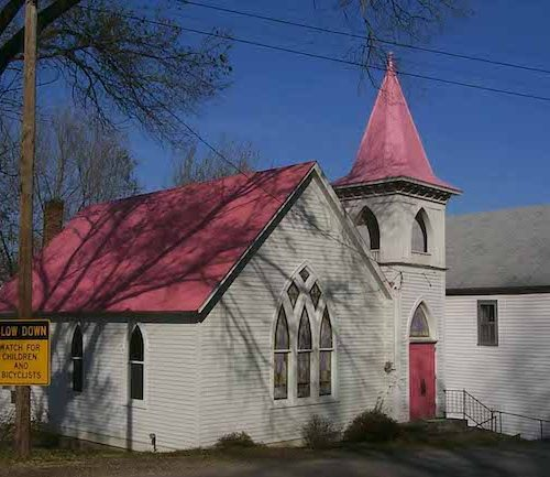 Bonnots Mill methodist church pink roof