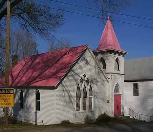 Bonnots Mill methodist church pink roof