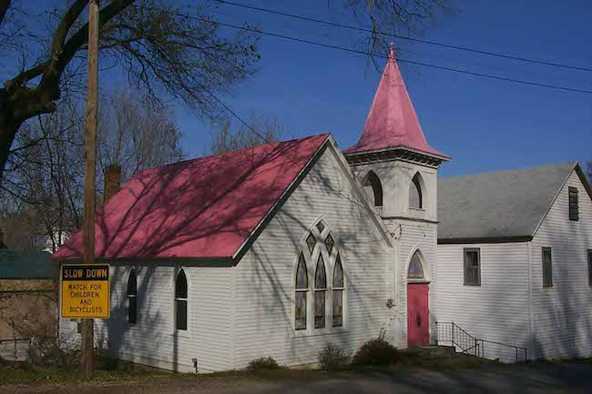 Bonnots Mill and the Pink Roof of the Church