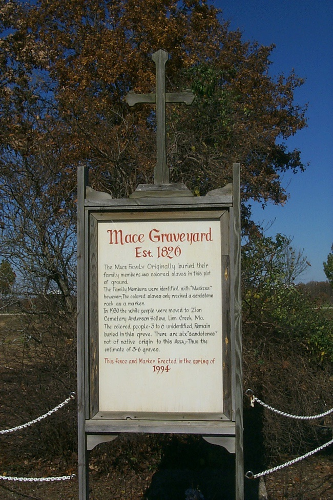 Mace Cemetery sign Missouri