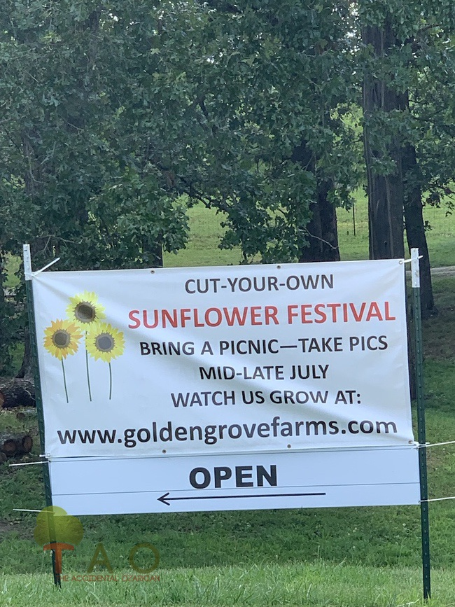 Golden Grove Farms Sunflower Festival sign