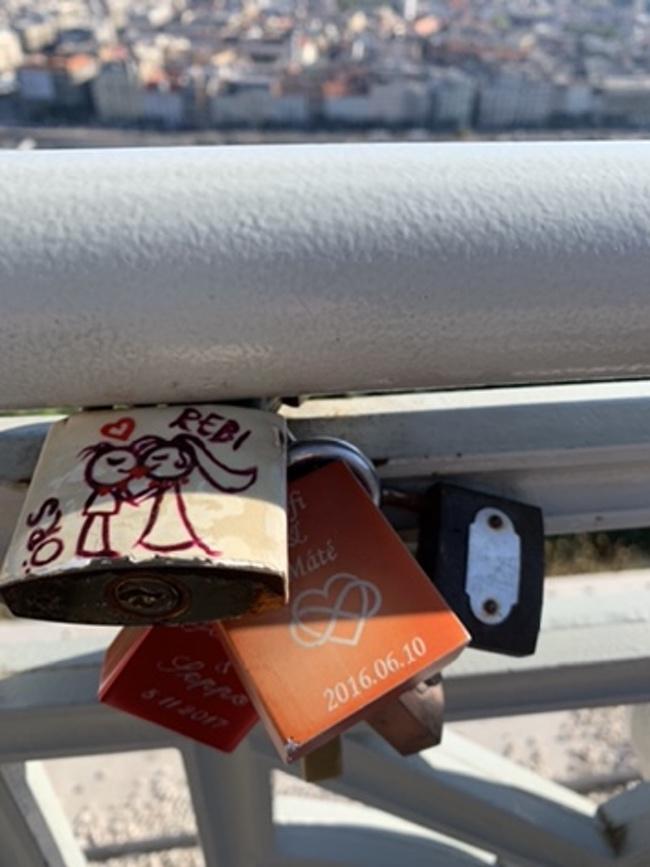 close up of lock on bridge Budapest lovers locks