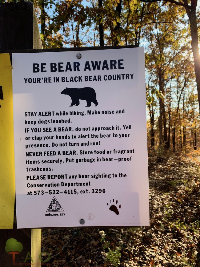 Bear Aware sign conservation area