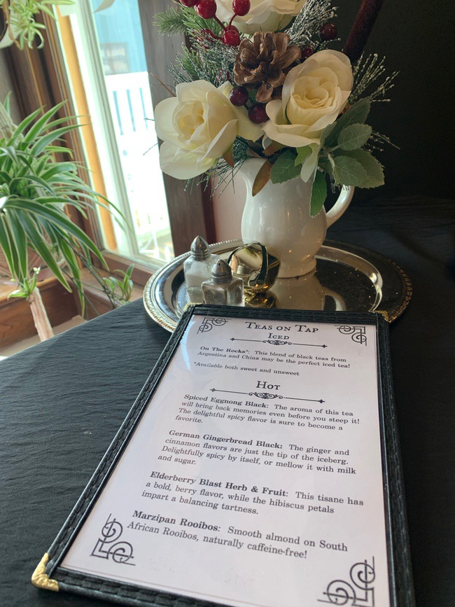 menu for tea room ironstone cottage