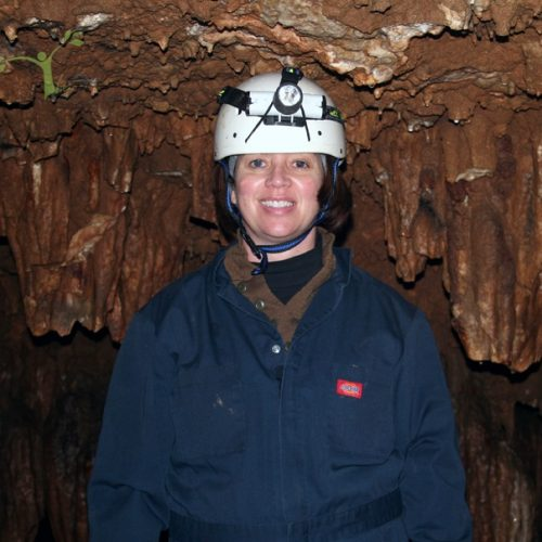 Barbara Baird in cave