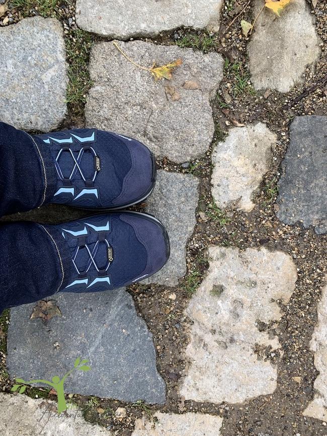 Boots on cobblestones