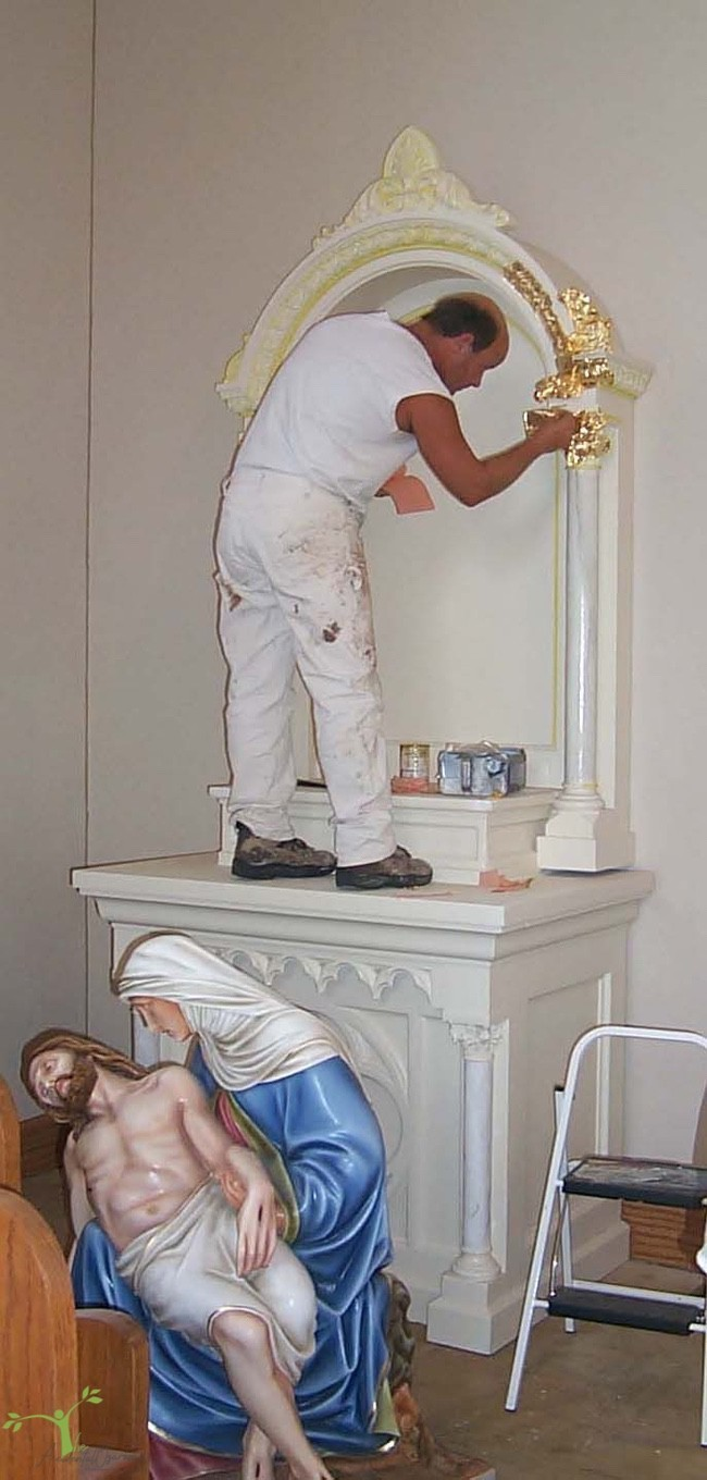 Holy Family altar being painted