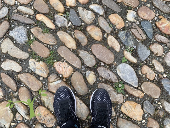 sneakers on cobblestones