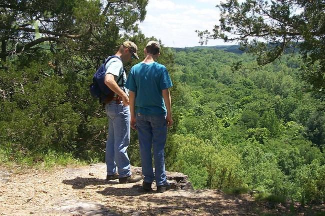 top of Cedar Bluff Trail at Lane Spring